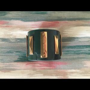 Vince Camuto Monogram Green Goldtone Cuff Bracelet